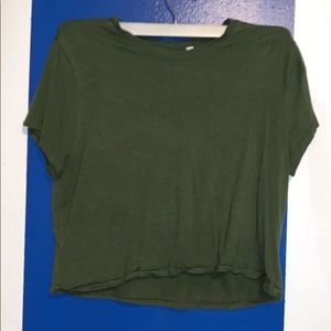 Green Distress Crop Top